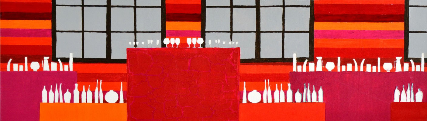 """weinprobe"" 3o/1oo cm mixed media auf leinwand"