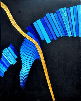 """""""blaue tuba"""" 4o/5o cm mixed media auf leinwand"""