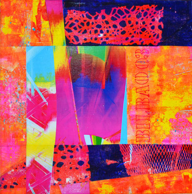 """guggenheim o3"" 4o x 4o cm collage mixed media auf leinwand"