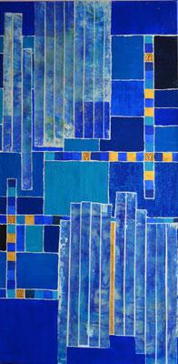 """goldmosaik mit blau"" 5o/1oo cm mixed media auf leinwand"