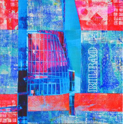 """guggenheim o4"" 4o x 4o cm collage mixed media auf leinwand"