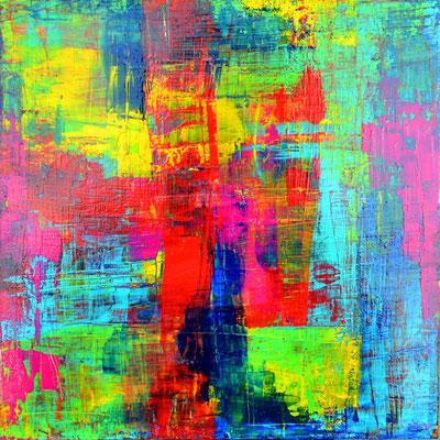"""""""spiel der farben o2""""  3o/3o cm, mixed media auf leinwand"""
