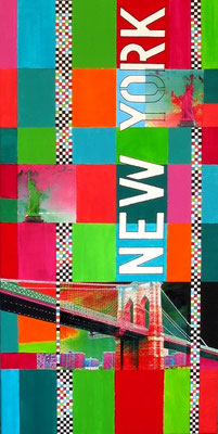 """new york brooklyn bridge"" 5o/1oo cm mixed media auf leinwand"