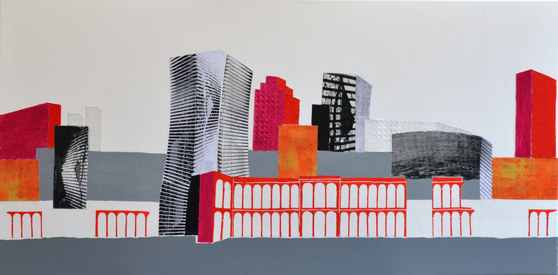 """skyline in farbe"" 12o/6o cm mixed media auf leinwand"