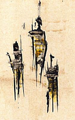Drei, ratlos ___ Acryl auf Karton 2011 20x13cm
