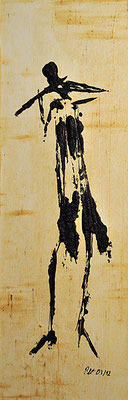 Flötist ___ Acryl auf Karton 2012 32x10cm