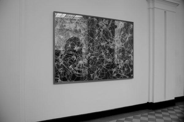 Tintenstrahldruck, kaschiert auf Alu Verbundplatte / Rahmen aus Eichenholz, geölt / Glas / 130 cm x 180 cm