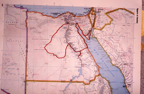 itinéraire en rouge
