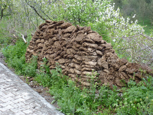 Stokage des briques de fumier sèches