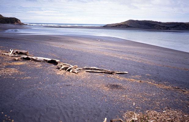 Sable noir sur la plage