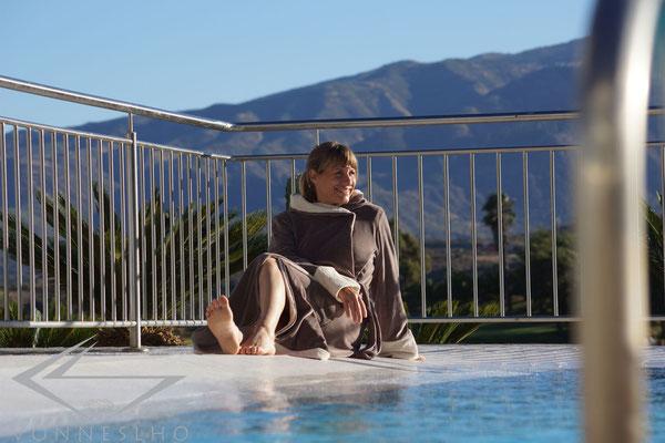 Luxusbademantel, Bathrobe, langer Wellnessmantel, Spa Saunamantel