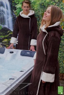 Damenbademantel, Herrenbademantel lang, warm, luxus Biobademantel für Damen mit Kapuze, exklusiver Bademantel