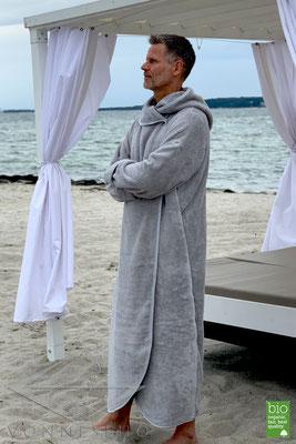 schöner bequemer flauschig warmer Bio Bademantel extra lang mit Kapuze Bathrobe Luxusbademantel Designerbademantel