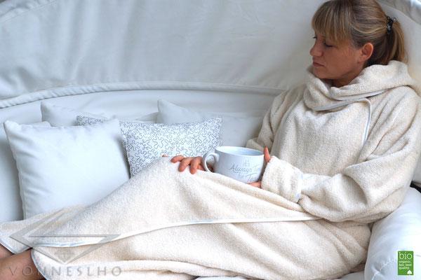 Damen Bademantel Saunamantel extra lang, sehr flauschige Bio Baumwolle