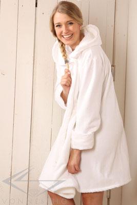 luxuriöser kurzer Bademantel mit Kapuze, Wellness Spa Saunamantel, Swing, Wellness Haute Couture, BATHROBE