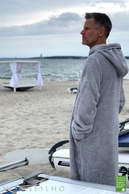 bequemer extra langer schöner warmer Bio Bademantel mit Kapuze Luxusbademantel Bathrobe