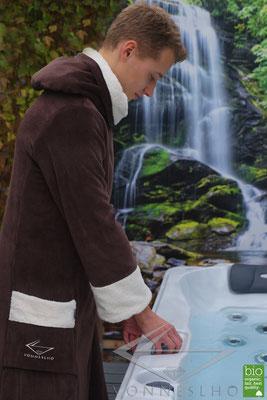 Extra langer Herrenbademantel, warmer luxus Biobademantel mit Kapuze designer Bademantel