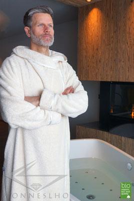 Luxus Sauna Bademantel extra lang, sehr flauschige Biobaumwolle