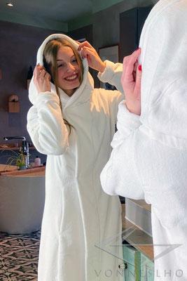 langer luxus Designer Morgenmantel, Damen Biobademantel, Herren Bio Bademantel mit Reverskragen Haute Couture