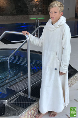 Bio Kinderbademantel mit Kapuze sehr weich Biobademantel