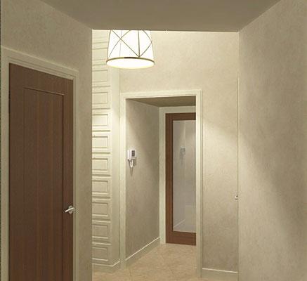 Дизайн интерьеров небольшой квартиры по договору на дизайн проект. Прихожая 1.