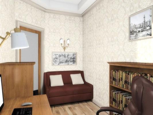 Дизайн интерьеров небольшой квартиры по договору на дизайн проект. Кабинет 2.