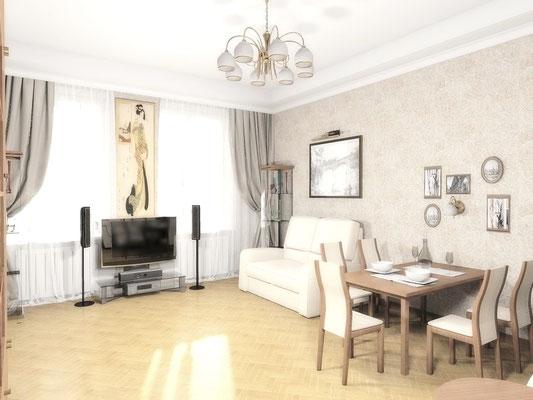 Дизайн интерьеров небольшой квартиры по договору на дизайн проект. Гостиная 1.