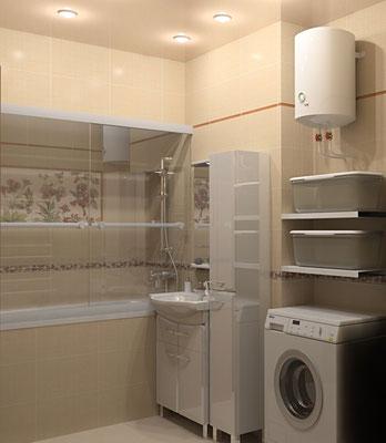 Дизайн интерьеров небольшой квартиры по договору на дизайн проект. Ванная 2.