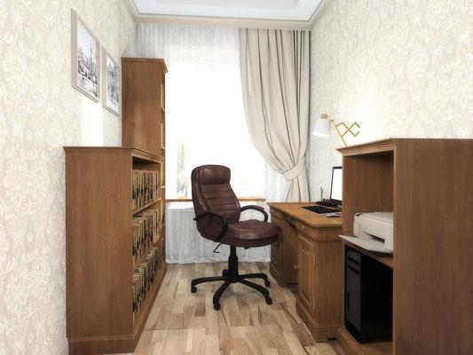 Дизайн интерьеров небольшой квартиры по договору на дизайн проект. Кабинет 1.