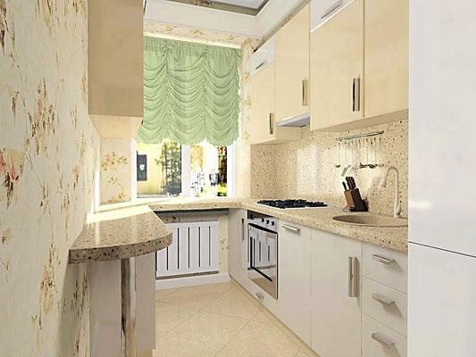 Дизайн интерьеров небольшой квартиры по договору на дизайн проект. Кухня 1.