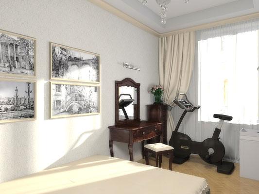 Дизайн интерьеров небольшой квартиры по договору на дизайн проект. Спальня 3.