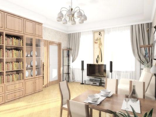 Дизайн интерьеров небольшой квартиры по договору на дизайн проект. Гостиная 2.
