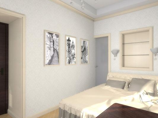 Дизайн интерьеров небольшой квартиры по договору на дизайн проект. Спальня 1.