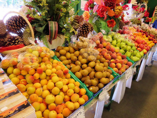 (8) クロムウェルの町のドライブイン。周辺には果樹園が多く、色とりどりの果物が並ぶ。