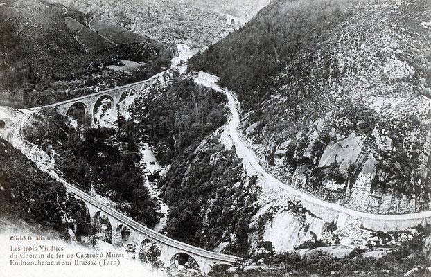 Tarn-056 : Vue d'ensemble sur les viaducs ferroviaires au niveau de la bifurcation du Bouissas
