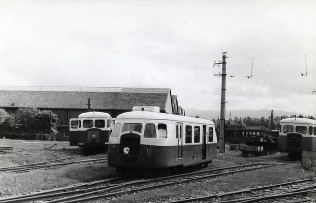 Tarn-011 : Castres-Dépôt. 2 septembre 1956. Autorails Verney SCF et Billard A80D. Cliché Jacques Bazin