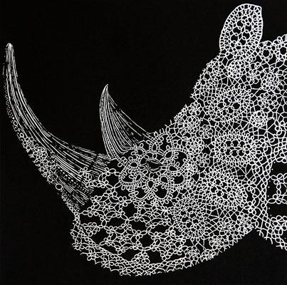 Lino cut rhino - Ewelina Wajgert