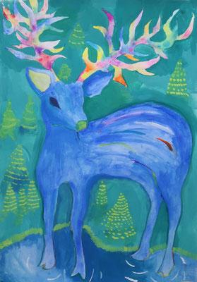 2019世界児童画展 入選「不思議な森の鹿」小6