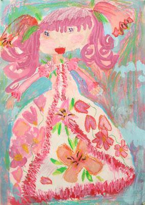 2019世界児童画展 入選「お花のおひめさま」小1