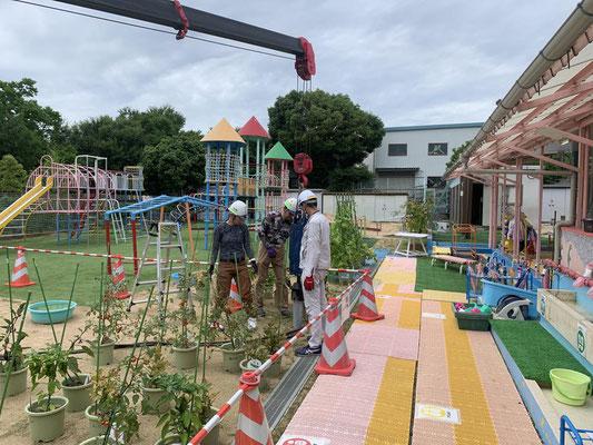 幼稚園遮光ネット設置