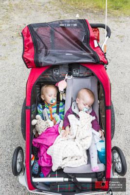Die Kinder im Fahrradanhänger