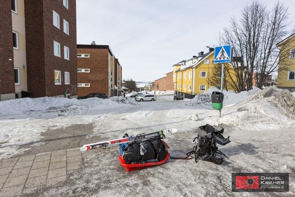 Schleppen der Pulka durch Kiruna