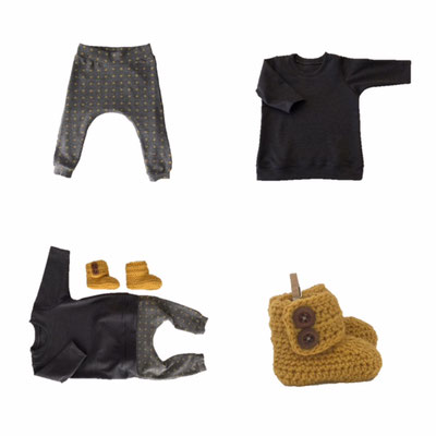 okergeel, okergele sweater, babysweater, okergele slofjes, babyslofjes, babyharem, babykleertjes, babybroekjes, baby outfit
