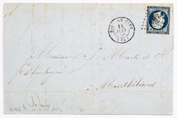 13. Juni 1856, Brief von Jackson Fres. Petin Gaudet & Cie (Rive de Gier) an S. Marti & Cie. (Montbéliard)