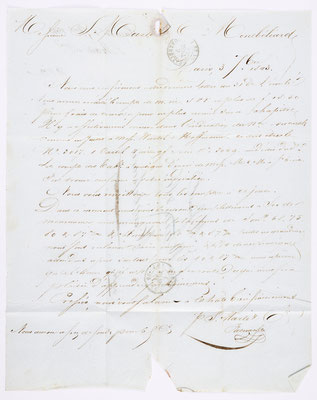 03. September 1843, Brief von S. Marti & Cie. (Paris) an S. Marti & Cie. (Montbéliard), Inhalt