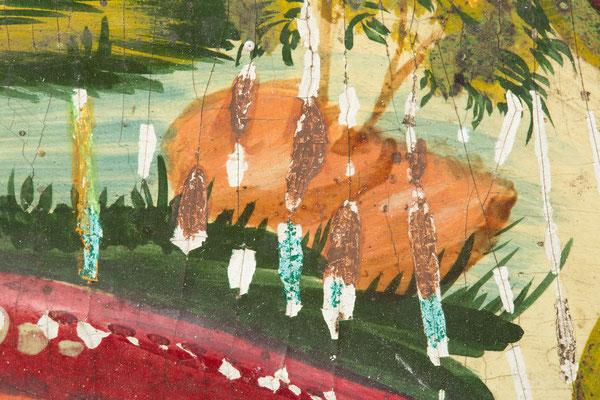 Restaurierung Schwarzwälder Lackschild, Vorzustand, Alt-Retuschen