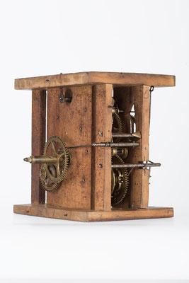 Schwarzwälder Uhrwerk mit Holzplatinen, Gangdauer 24 Stunden von Fidel Fürderer um 1860