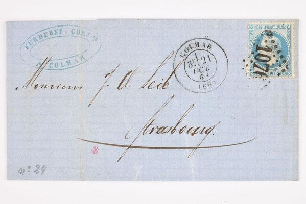 Brief von Fürderer & Cie Colmar, 1868