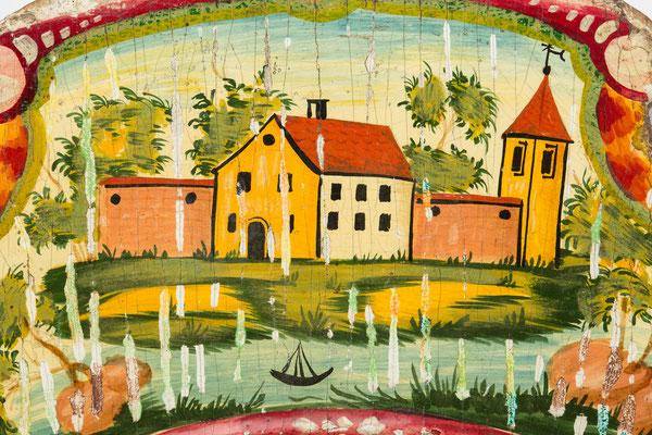 Barockes Lackschild nach der Reinigung, Detailaufnahme