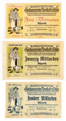Inflation 1923, Notgeld mit Uhrenträger, Stadtkasse Neustadt im Schwarzwald, Fünf- 20- und 100 Milliarden